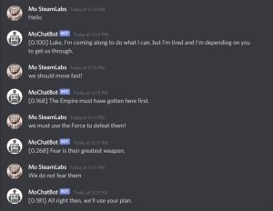 Chatbot conversation between person and Steamlabs bot